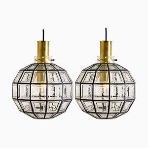 Große Leuchten aus Eisen & Klarglas von Glashütte Limburg, 1960er, 2er Set