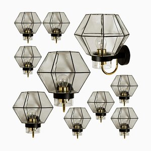 Iron and Clear Glass Wall Lights by Glashütte Limburg, 1960s