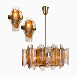 Crystal Glass Chandelier & Wall Lights by J.T. Kalmar, 1970s, Set of 3