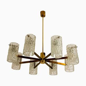 Brass and Blown Glass Chandelier by Hillebrand, 1960s