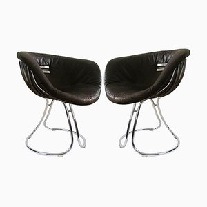 italian Leather and Chrome Pan Am Dining Chairs by Gastone Rinaldi, 1960s, Set of 2