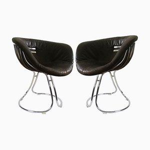 Italienische Pan Am Esszimmerstühle aus Leder & Chrom von Gastone Rinaldi, 1960er, 2er Set