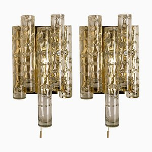 Brass and Glass Wall Lights by Doria Leuchten Germany, 1960s, Set of 2