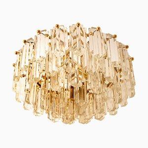 Deckenlampe aus vergoldetem Messing & Glas von JT Kalmar, 1960er