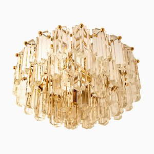 Gilt Brass and Glass Ceiling Lamp by J.T. Kalmar, 1960s