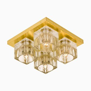 Wandlampe aus Messing & Glas von Peill & Putzler, 1970er