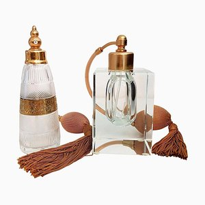 Vergoldete Art Deco Messing Parfümfläschchen von Moser Glassworks, 1970er, 2er Set