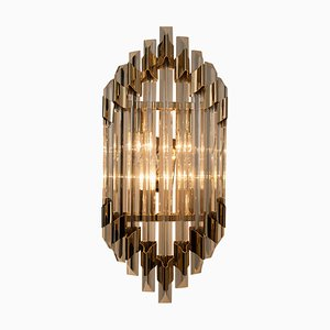 Large Murano Glass and Brass Sconce Flush Mount in the Style of Venini, 1960s