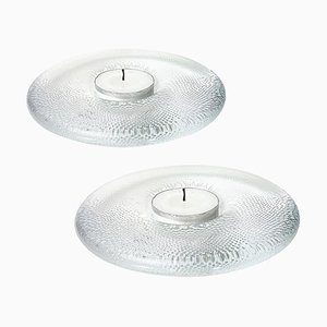 Finnish Crystal Candleholders by Iittala, 1980s, Set of 2