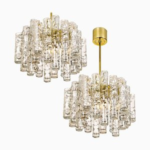 Ice Glass Chandeliers by Doria Leuchten Germany, 1960s, Set of 2
