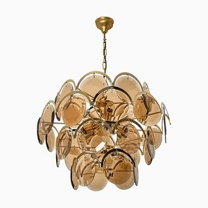 Large Smoked Glass and Brass Chandelier in the Style of Vistosi, 1970s