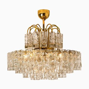 Five-Tiers Blown Glass and Brass Chandelier by Doria Leuchten Germany, 1960s