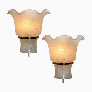 Brass and Textured Glass Sconces by Doria Leuchten Germany, 1960s, Set of 2