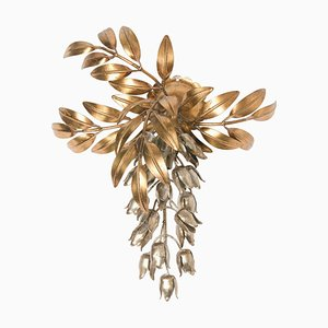 Gilt Metal Palm Tree Sconces by Hans Kögl, 1960s, Set of 2