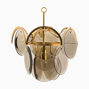 Smoked Glass and Brass Chandelier Attributed to Vistosi, 1970s