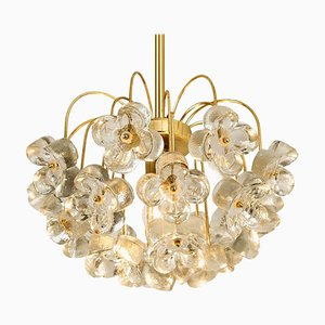 Modernist Glass and Brass Chandelier by Sische, 1960s