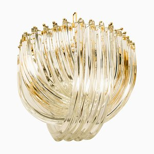 Curved Crystal Glass and Gilt Brass Chandelier by Venini, 1970s