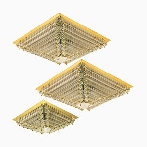 Italian Gold-Plated Piramide Ceiling Lamps by Venini, 1970s, Set of 3