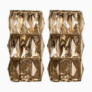 Chrome-Plated Crystal Glass Wall Lights by Palwa, 1970s, Set of 2