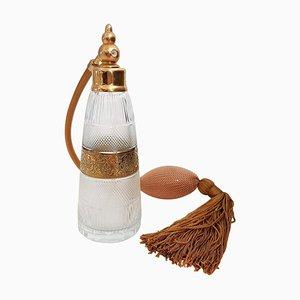 Bouteille de Parfum Style Art Deco en Laiton Doré et Verre Taillé par Moser Glassworks, 1970s