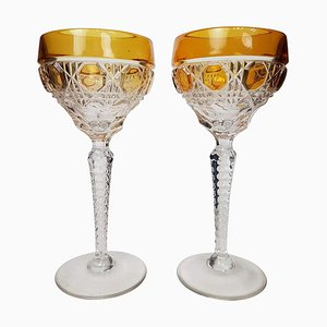 Czech Bohemian Hand Blown Crystal Cut Amber Goblets by Moser Glassworks, 1920s, Set of 2