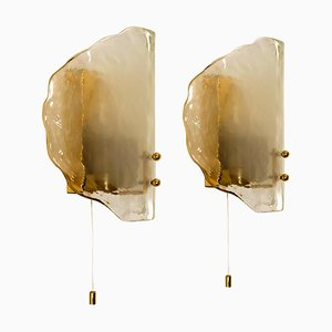 Brass and Glass Hand Blown Murano Glass Wall Lights by J.T. Kalmar, 1960s, Set of 2