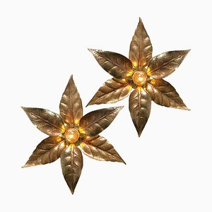 Brass Flowers Wall Light by Massive Lighting, 1970s