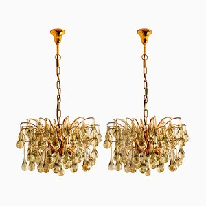 Large German Brass and Crystal Chandeliers by Ernst Palme, 1960s, Set of 2