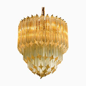 Large Four-Tier Crystal Chandelier by Paolo Venini, 1960s