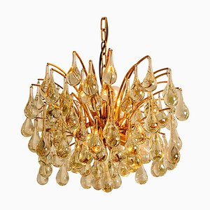 Large German Brass and Crystal Chandelier by Ernst Palme, 1960s