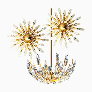 Italian Crystal and Gilded Brass Chandeliers by Stilkronen, 1970s, Set of 3