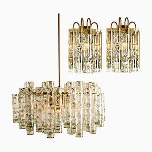 Wall Lights & Chandelier by Doria Leuchten Germany, 1960s, Set of 3