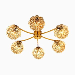 Large Amber Bubble Glass Chandelier by Helena Tynell, 1960s
