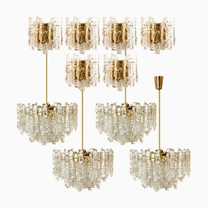 Ice Glass Chandeliers & Sconces by J.T. Kalmar, 1960s, Set of 13