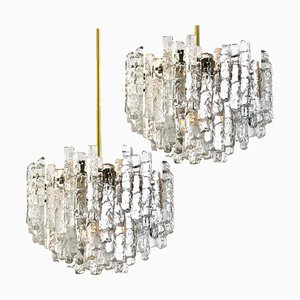 Large Modern Three-Tiered Brass & Ice Glass Chandeliers by J.T. Kalmar, 1960s, Set of 2