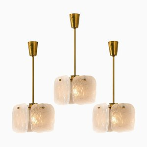 Ice Glass Pendant Lamp by J.T. Kalmar, 1960s