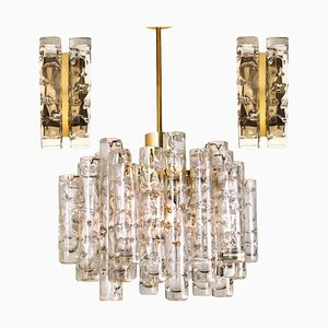 Brass Wall Lights & Chandelier by Doria Leuchten Germany, 1960s, Set of 2