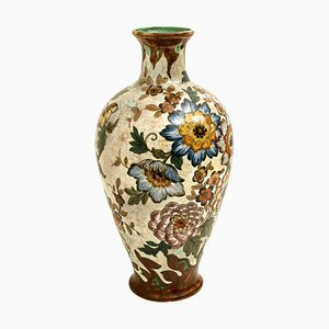 Large Hand-Painted Royal Vase by Gouda Plateelbakkerij Zuid-Holland, 1930s
