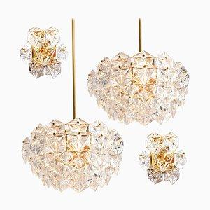 Facettierte Kristallglas und Vergoldete Metall Leuchten von Kinkeldey, 1960er, 4er Set