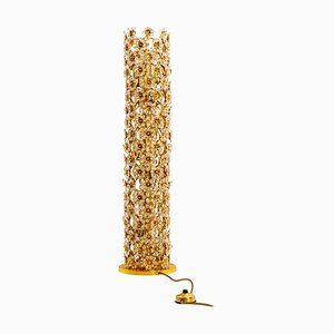 Gold-Plated and Crystal Floor Lamp by Palwa, 1970s