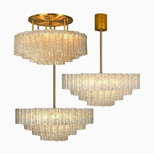 Large Glass Brass Light Fixtures by Doria Leuchten Germany, 1960s, Set of 3