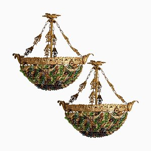 Italian Murano Glass Flower Chandeliers, 1930s, Set of 2
