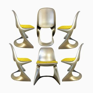 Space Age Metallic Armchairs by Ostergaard Steen, 1970s, Set of 6
