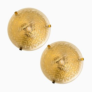 Blown Glass Wall Lights by Hillebrand, 1960s, Set of 2