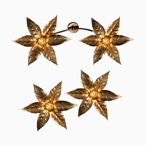 Brass Flowers Ceiling or Wall Lights in the Style of Willy Daro, 1970s, Set of 3