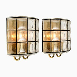 Iron & Bubble Glass Sconces by Glashütte Limburg, 1960s, Set of 2