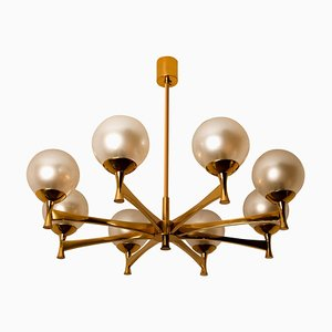 Chandelier in Brass with Opaline Glass in the Style of Sciolari