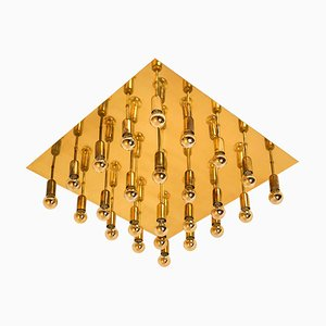 Large Sciolari Style Geometric Wall or Ceiling Light, 1970s