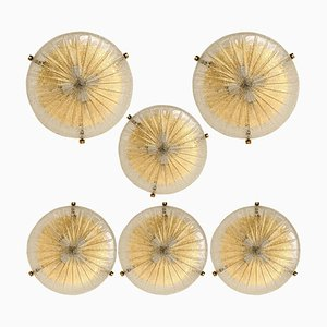 Handmade Glass Brass Ceiling Lamp or Wall Light by Hillebrand, 1969
