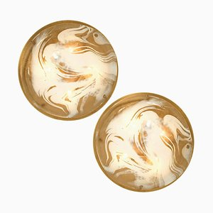Brass and Blown Murano Glass Wall Lights by Hillebrand, 1960s, Set of 2